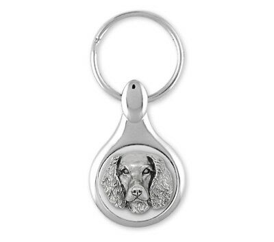 Springer Spaniel Key Ring Jewelry Sterling Silver Handmade Dog Key Ring SPS-KE