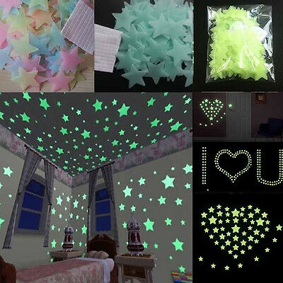 Lots Stars Luminous Fluorescent Wall Stickers Home Decor For Kids Rooms Party