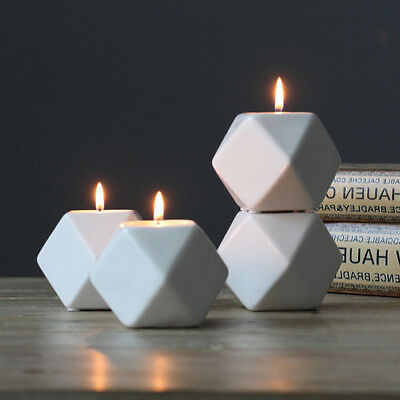 Nordic Style White Ceramic Geometry Candle Holder Stand Candlestick Home Décor