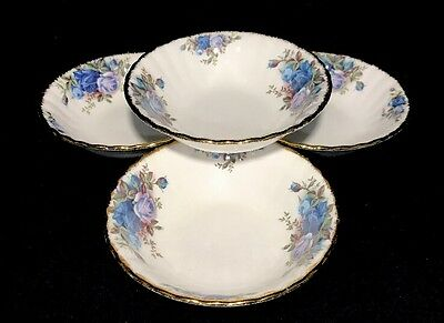 Royal Albert Moonlight Rose Fruit Nappy/ Dessert Bowls Set Of 4 England New