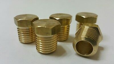 "5 pcs. 1/4""  MIP (Male NPT) Brass Hex Plug. Fitting  MADE IN USA!"