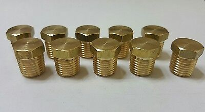 "10 pcs. 1/4""  NPT Brass Plug 1/4 Male NPT Hex Head Fitting.  MADE IN USA!"