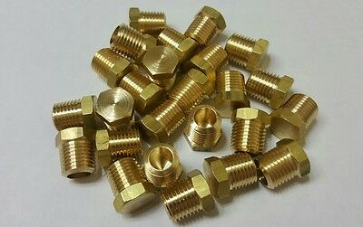 "Lot of 25 pcs. 1/4""  MIP (Male NPT) Brass Hex Plug. Fitting  MADE IN USA!"