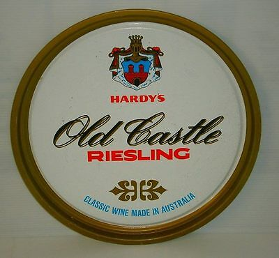 Hardys Riesling Wine metal round carry drinks tray for home bar or pub collector