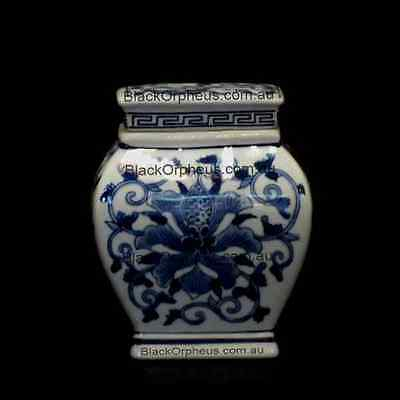 Ming Canister Blue and White, 13cm, Ming Canister, Porcelain Vase with Lid,