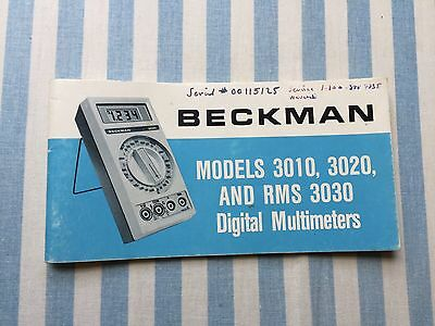 Beckman 3010, 3020, RMS3030 DMM Operator's Manual includes schematics