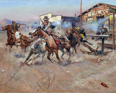 Russell Smoke of a .45 Wood Framed Canvas Print Repro 19x28