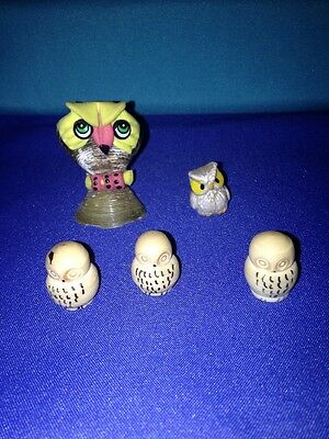 Vintage Lot of 5 + Miniature Decorative Owl Ceramic, and Wood And 🐚