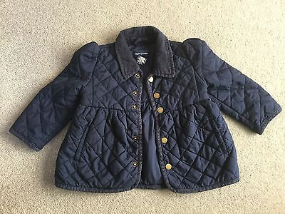 POLO. RALPH LAUREN.  Girls Navy Blue Quilted Coat. Aged 24 Month.