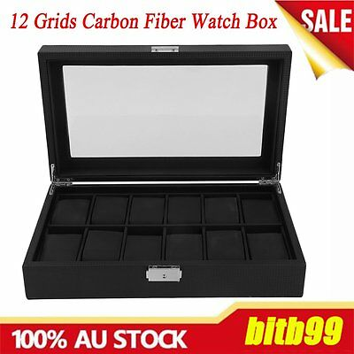 12 Grids Carbon Fiber Watch Gift Box Storage Cases Jewelry Display Organizer AUE