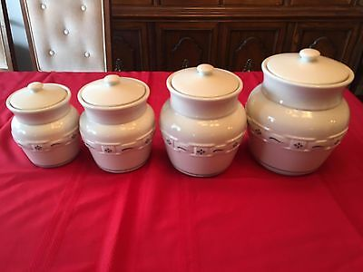 Longaberger Pottery ~ Blue Woven Traditions FOUR Piece Canister Set