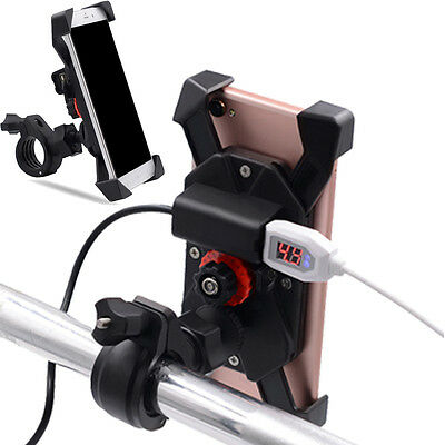6 Inch Motorcycle ATV Mobile Phone Holder Mount Handlebar Carrier w/ USB Charger