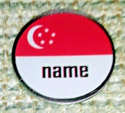 anneys - your OWN PERSONALISED  ** Singapore's flag ** golf ball marker!!