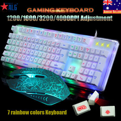 LED Rainbow Color Backlight Adjustable Gaming Game USB Wired Keyboard Mouse Set