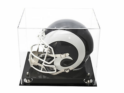 Deluxe Full Size Football Helmet Display Case Clear with Silver Risers (A002-SR)