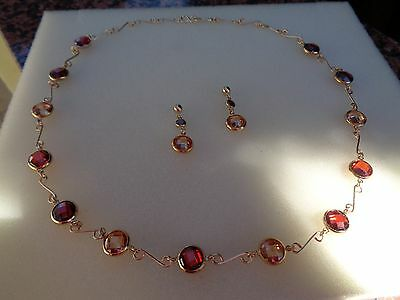 Gold Collier,585 Gold Filled, mit Zirkonia in feurigem Rot!