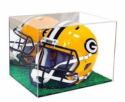 Deluxe Full Size Football Helmet Display Case Mirror with Turf Bottom (A002-MTB)