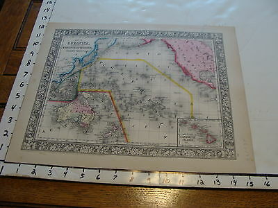 vintage map: 1860 Mitchell Map of OCEANICA (PINK, YELLOW, GREEN, BLUE LINES)