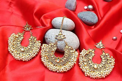 Indian Bollywood Gold Plate Topaz Pearl Maang Tikka Earring Set Forehead Jewelry