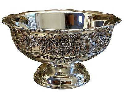 Large Silver Plated Fruit Bowl  Footed Pedestal Centerpiece Vintage Gift 11 3/4