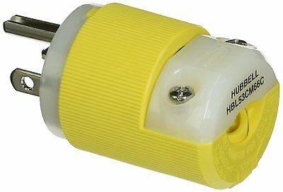 Hubbell HBL53CM66C Insulgrip Plug Straight Blade 20A 125V 2-Pole 3 Wire Yellow