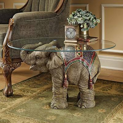 """Design Toscano Exclusive 18""""Jaipur Elephant Festival Glass Topped Cocktail Table"""
