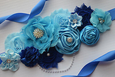 Flower Sash, Shades of blue sash , flower Belt, maternity sash