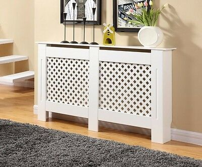 White Radiator Cover Cabinet Wood MDF Diamond Grill Design Small Med Adjustable