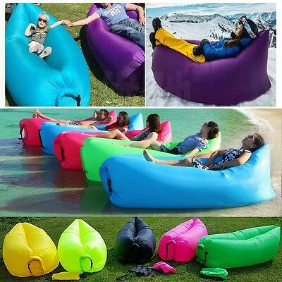 Inflatable Hangout Air Sleeping Camping Bed Beach Sofa Lounge Swimming pool