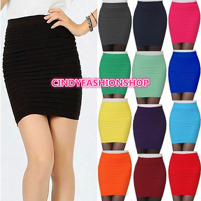 USA Stock New Women's  Girl Slim Stretch Bodycon Bandage Micro Mini Skirt