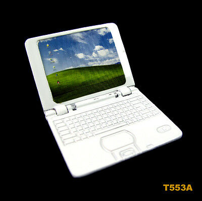 1:12 Dollhouse Miniature Mini Portable Metal Laptop Notebook PC Computer White