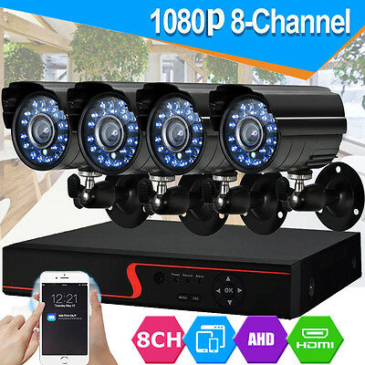 8CH HDMI 1080P DVR 2000TVL Outdoor CCTV Video Security Camera System HD UK