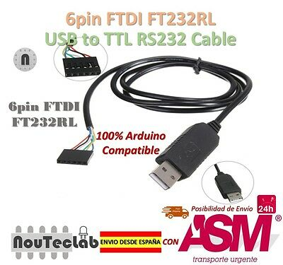 6pin FTDI FT232RL USB to Serial Adapter Module USB to TTL RS232 Cable
