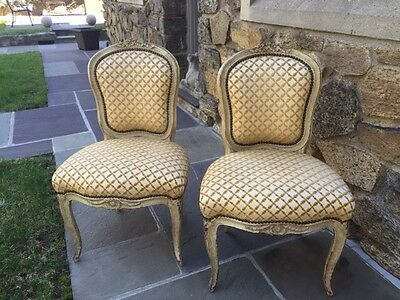 Pair of 18th Century Louis XV Upholstered Painted  Chairs