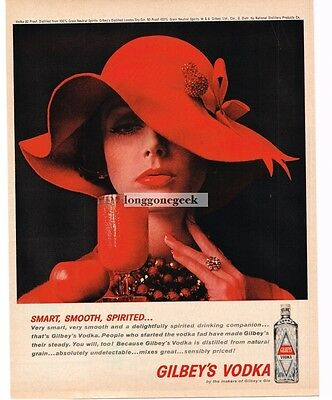 1961 GILBEY'S Vodka Woman In Red Vtg Print Ad