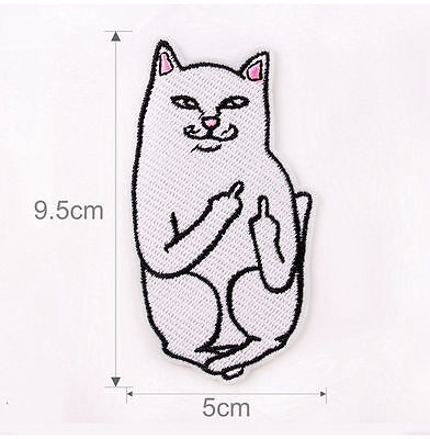 5X Middle Finger Cat Patch Embroidered Sew Iron On Bag Fabric Applique Craft DIY