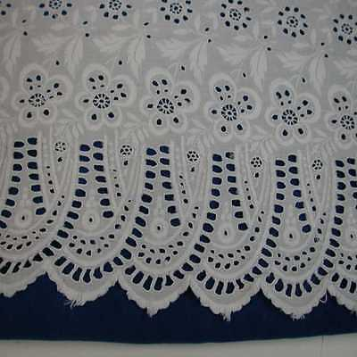 Lovely Antique Handmade whitework Broderie Anglaise, 3 Yds x 17""