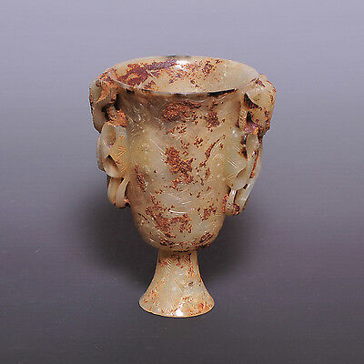 Liao-Jin Dynasty, A rare superb Hetian Jade handwork carved goblet