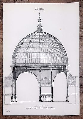 Architecture, Dome - Antique B/W Print Lithograph - c19th Encyclopaedia.