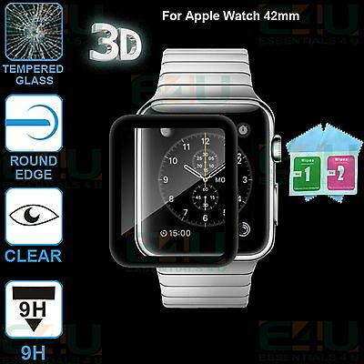 2 x 3D Black Full Front Tempered Glass Screen Protector For Apple Watch 42mm