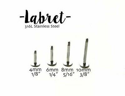 16g Labret for cartilage earrings flat backs 316L stainless steel tragus studs