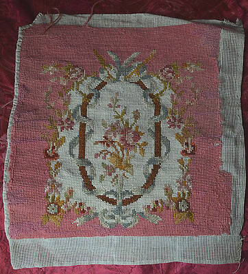 Antique French unfinished tapestry pink, roses