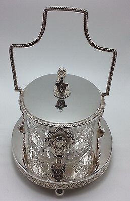 English Silverplate and Cut Crystal Covered Butter Dish with Lion Shield Finial