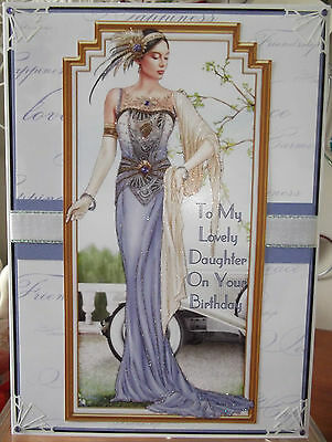 handmade art deco personalised daughter birthday card graceful lady in mauve