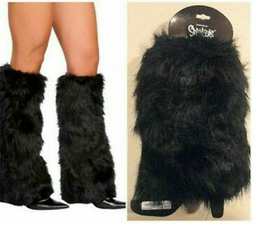 Boot Cuff Fluffy Soft Furry Faux Fur Leg Warmers Boot Toppers Black