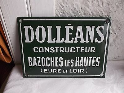 "French  porcelain enamel green sign ""DOLLEANS"" Constracteur"