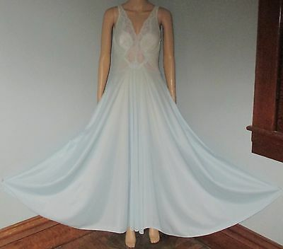 "Vintage Olga Sheer Blue Nylon Long Flowing 220"" Mega Full Sweep Nightgown M USA"