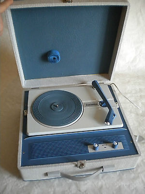1970s Blue and grey Reve Evernice valve Portable vintage Record player italian