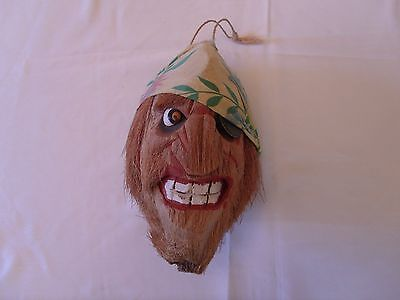 Carved HangingTiki Coconut Pirate Head Patch Bandanna