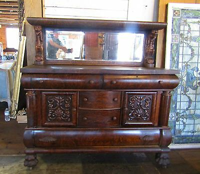 Victorian Photo Oak Finish Griffin Sideboard Buffet